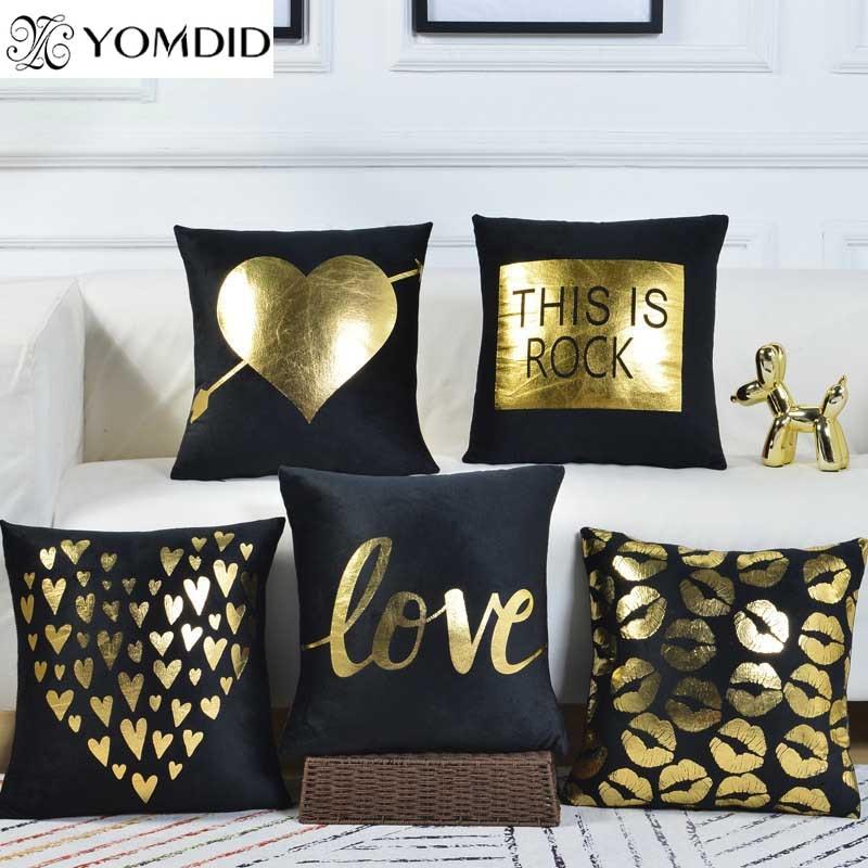 gold foil pillow case 45 45cm cushion cover black flannel seat chair car cushion cover spandex printed pillow cover pillowcase