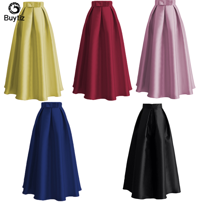 Buytiz Fashion Muslim Women Casual Maxi Long Pleated Pink High Waist Ladies Gown Abaya Dresses Islamic Clothing turkish Skirts