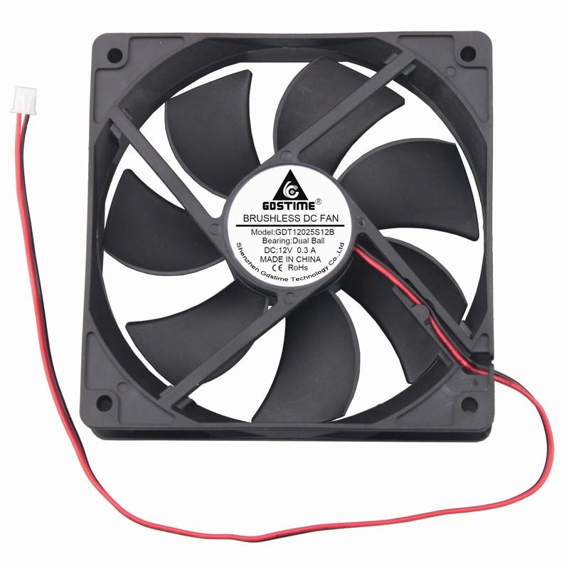 1 Piece Gdstime 12V Ball Bearing DC Brushless Cooling Fan 120mm X 25mm 2Pin 0.3A 12cm PC Case Cooler 120mm*120mm*25mm 12 Volts
