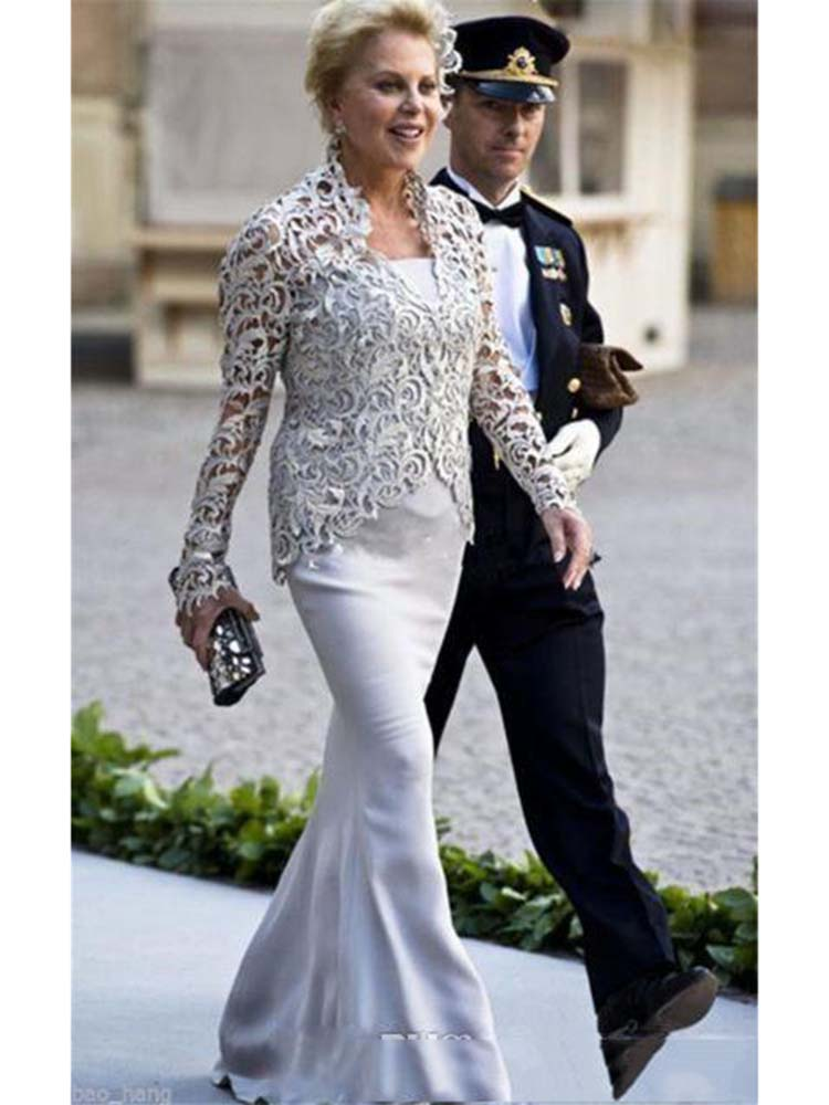 2019 mère de mariée robes costumes avec vestes gris dentelle 3 pièces thé longueur grande taille tenue formelle mariage fête invité robe - 2