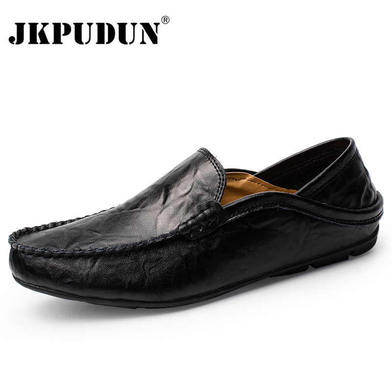 JKPUDUN Men Shoes Casual Genuine Leather Mens Loafers Moccasins Designer Slip On Boat Shoes Classical Chaussure Homme Size 38-46