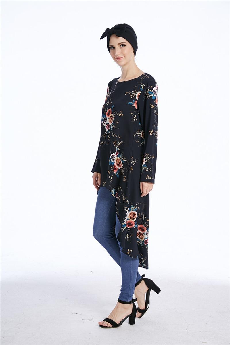 Kadınlar müslüman bluz çiçek çapraz sınır müslüman kadınlar için düzensiz kırlangıç tailsmuslim kadın üst gömlek elbise