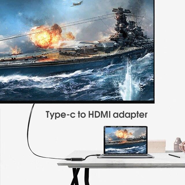 Kebidu USB tipo C a HDMI Adaptador 4K a 30Hz tipo de Cable C HDMI para MacBook Samsung Galaxy S10 Huawei Mate P20 Pro USB-C adaptador HDMI