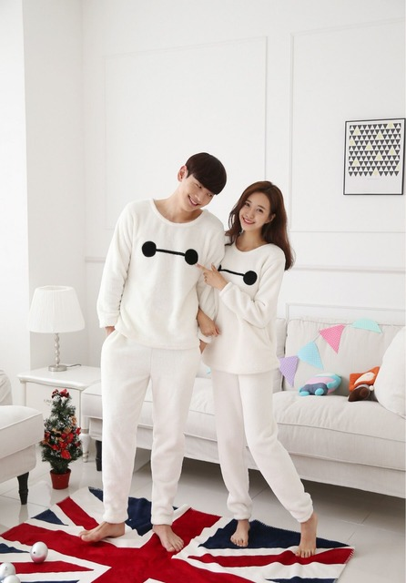 Couple pajama sets autumn lovers pyjamas long-sleeved Flannel pajama tracksuit plus size women's pajamas suit XXL