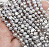 Wholesale 10 real 6 7mm gray Baroque pearl loose beads gem stone 14/ strand