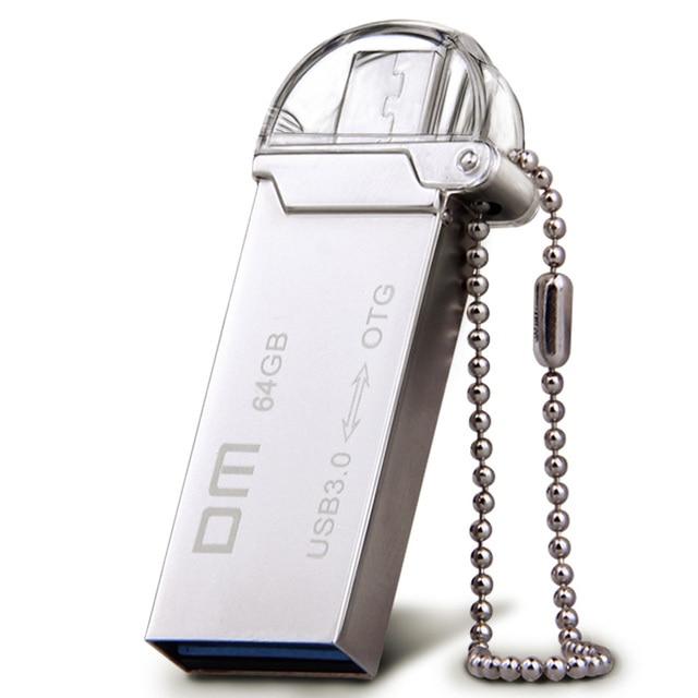 Dm pd009 otg usb 3.0 100% 64 gb usb flash drive smartphone pen drive micro usb memoria usb de metal de almacenamiento portátil palo
