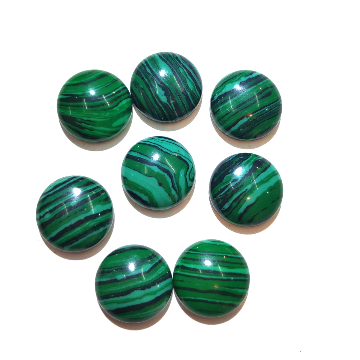 10 PCS Malachite Natural Stones Cabochon 12mm 14mm 16mm 18mm 20mm Round No Hole For Making Jewelry DIY