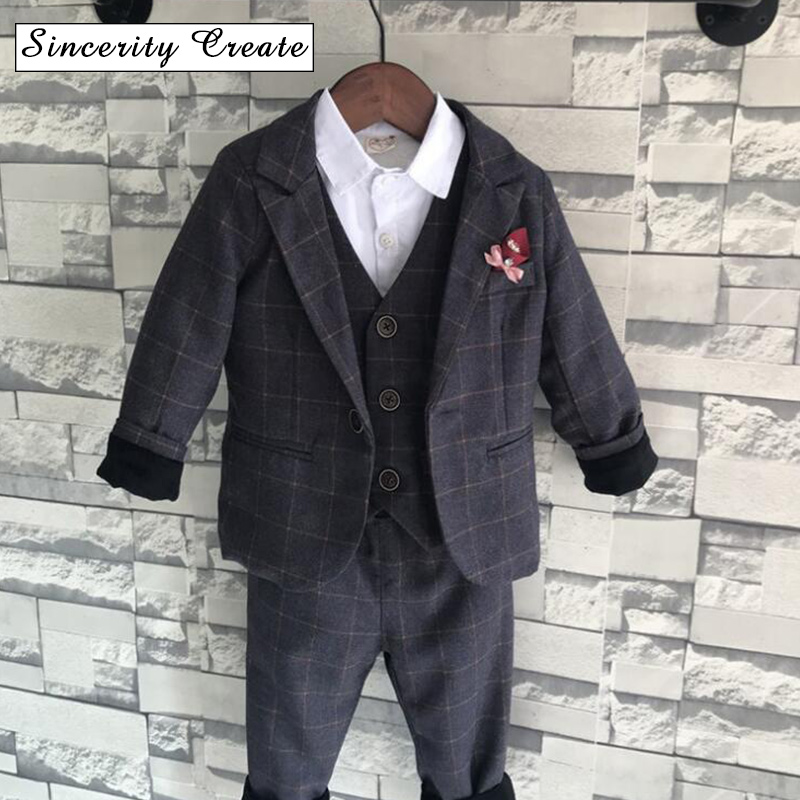 Boys Formal plaid Suits For Weddings England Style Man Child Blue Party  Tuxedos Boys Formal Suits a38c6d8c676f
