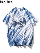Dark Icon Led Rock T-shirt Short Sleeve Tie Dye Hip Hop Tshirts Men Round Neck Mens Tee Shirts