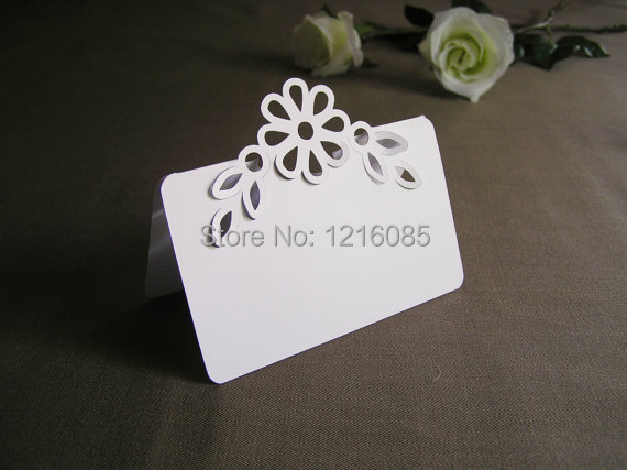 Blank Wedding Place Escort Cards Tent Style 3D Flower and Leaves Pop