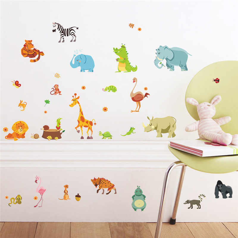 Jungle Forest Animals Wall Stickers For Kids Rooms Safari Nursery Baby Home Decor Poster Monkey Decals Wallpaper