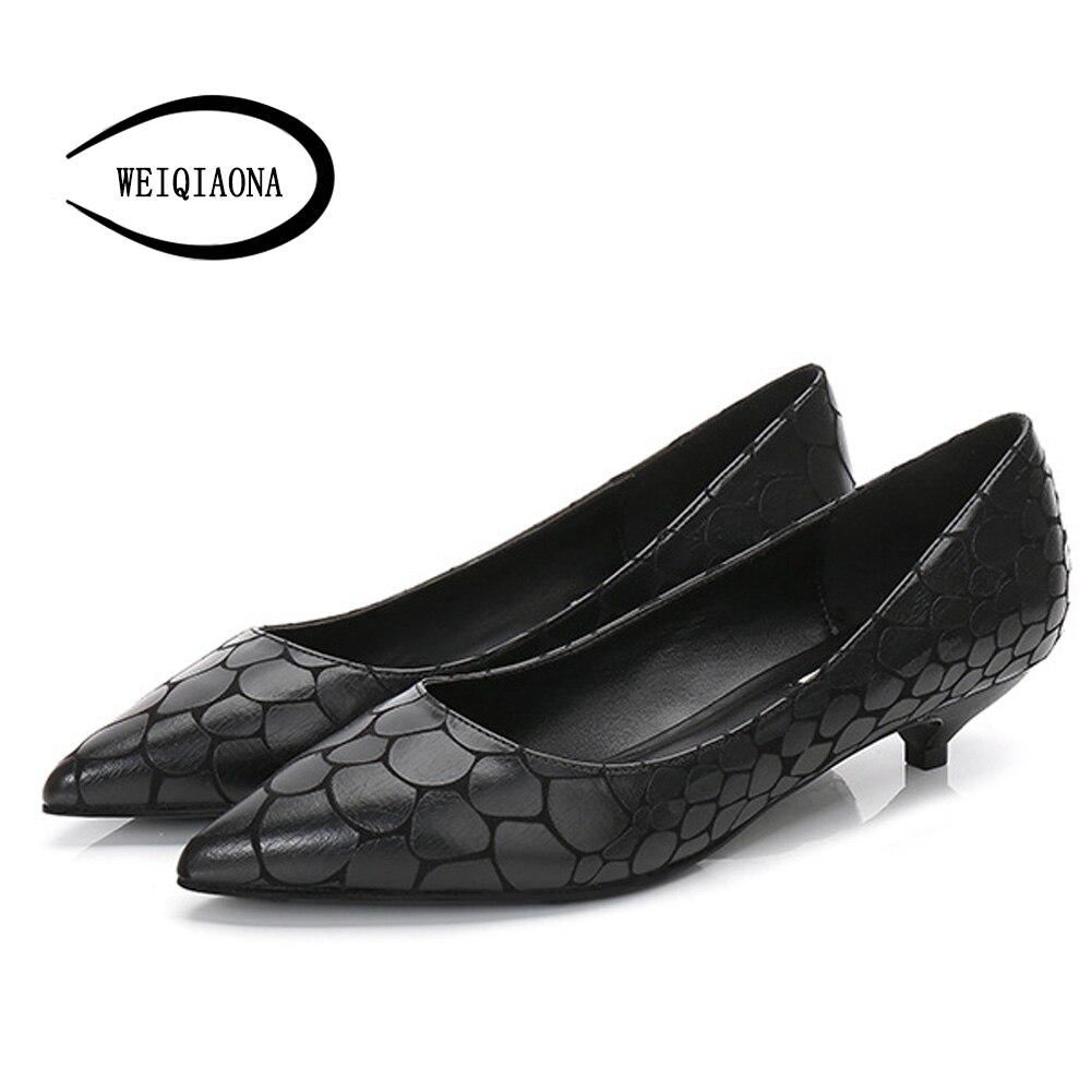 WEIQIAONA 2018 nouvelle grande taille 34-43 marque Design chaussures femmes décontracté bout pointu talons bas chaussures de mariage chaussures de travail
