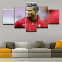 Canvas Wall Art Pictures Framework Living Room Home Decorative 5 Pieces Cristiano Ronaldo Sports Paintings HD