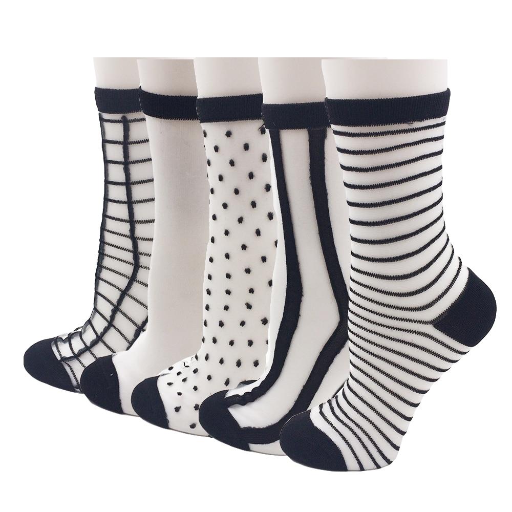 5 זוגות  חבילה תחרה בסגנון שונה גרבי נשים קריסטל שקופות גרבי קרסול בסגנון קיץ משי שקוף