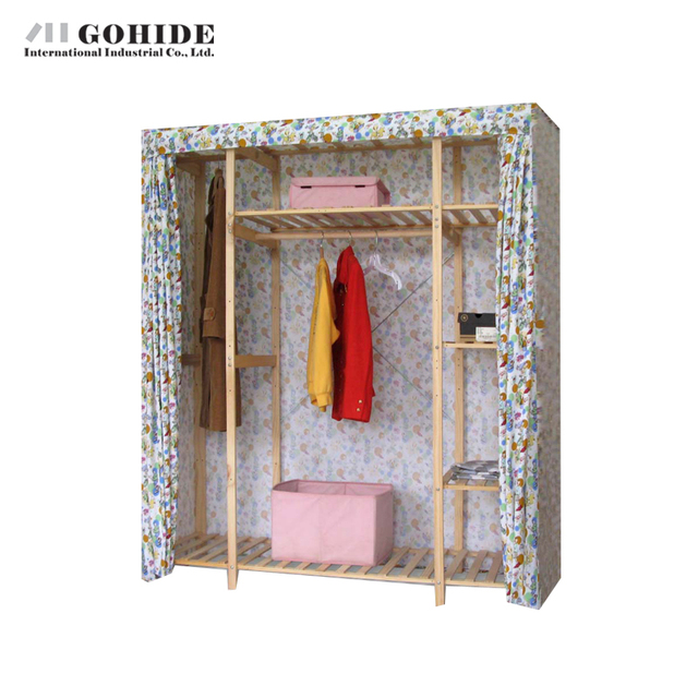 Gohide 154 см Ширина Двухместный Ткань Гардероб Простой Шкаф Одежда Mh31b 755f DIY Шкаф Гардероб Складной Мебели Для Гостиной
