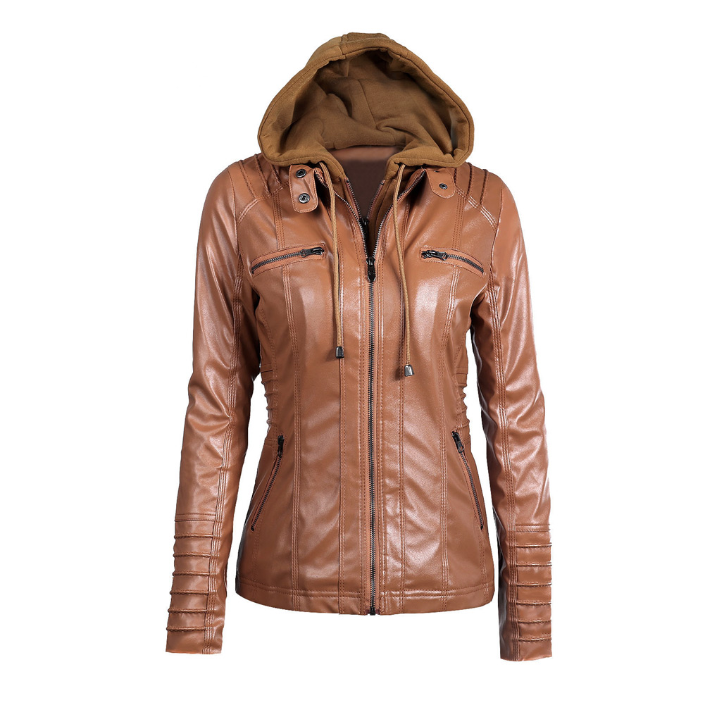 S-7XL Plus Size Women's Faux   Leather   Jacket 2019 Autumn Winter Hooded Zippered Fake 2 Piece Slim Short Motorcycle Jacket Coat