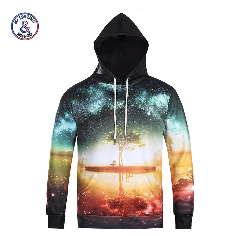 Mr.1991INC Autumn Winter Fashion Cap Hoodies Men Long Sleeve Pullovers Print Stars Sky Tree Casual Hoody 3d lovely Sweatshirt