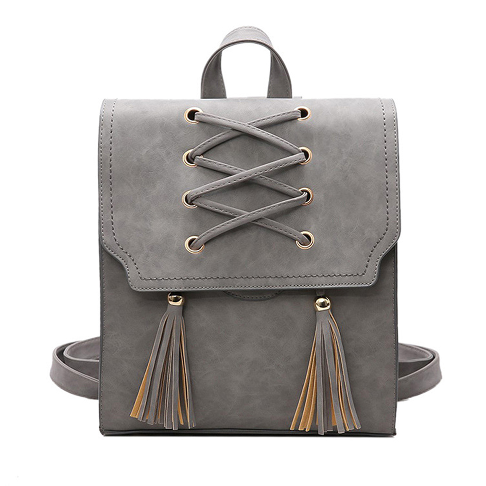 SFG HOUSE Women Unique PU Leather Lace Up Backpack 2017 Fashion Girls School Bags Shoulder Bag
