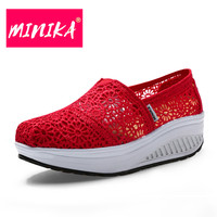 MINIKA Solid Mesh Shoes Women Swing Wedges Weight Loss Outdoor Women Flat Shoes Thick Bottom Height