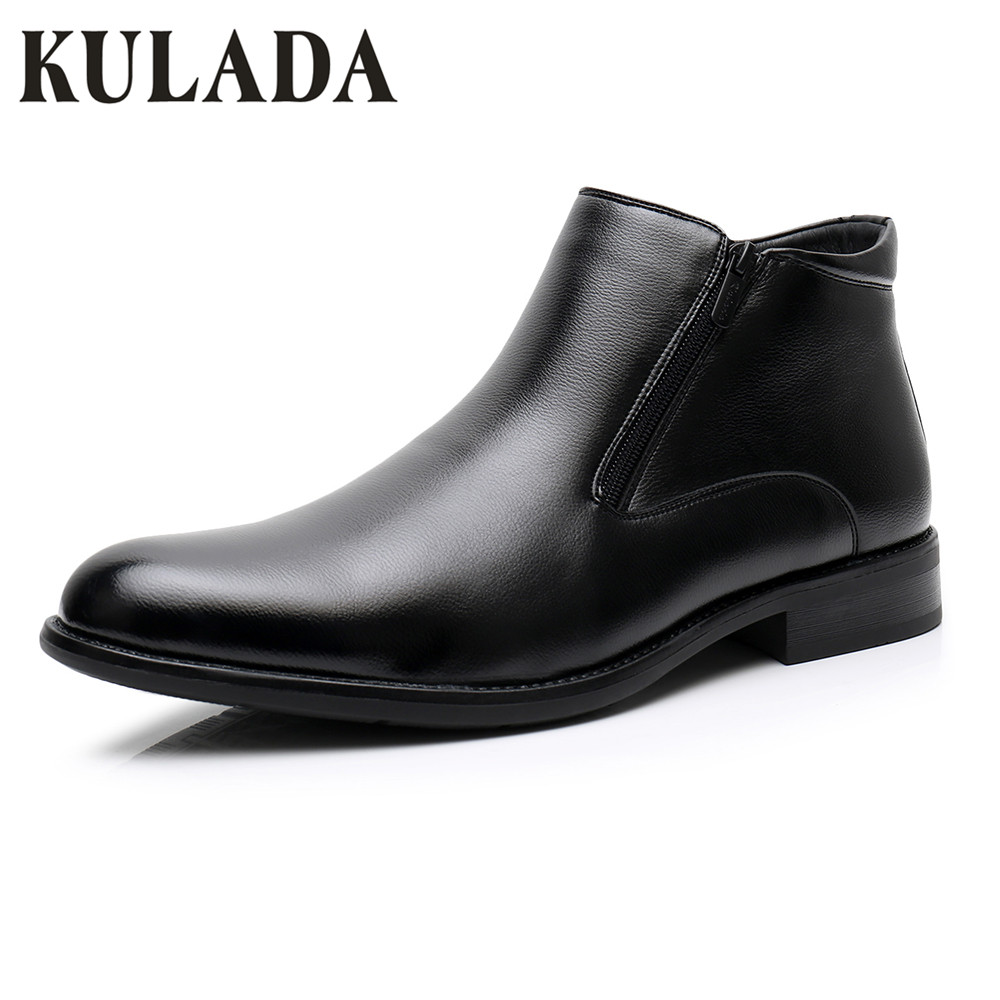 KULADA Big Size Boots Men Leather Winter Warm Snow Boots Man Double Zipper Side Shoes With
