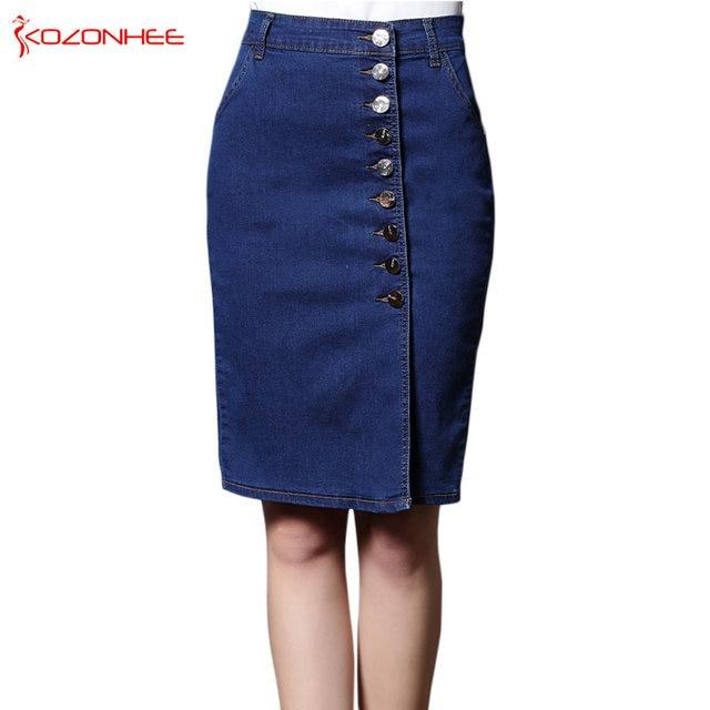 3313f3ffa5c S-6XL Plus Size Stretch Denim Pencil Skirts With High Waist Elasticity  Women Skirt Knee-Length Female Large Size  32