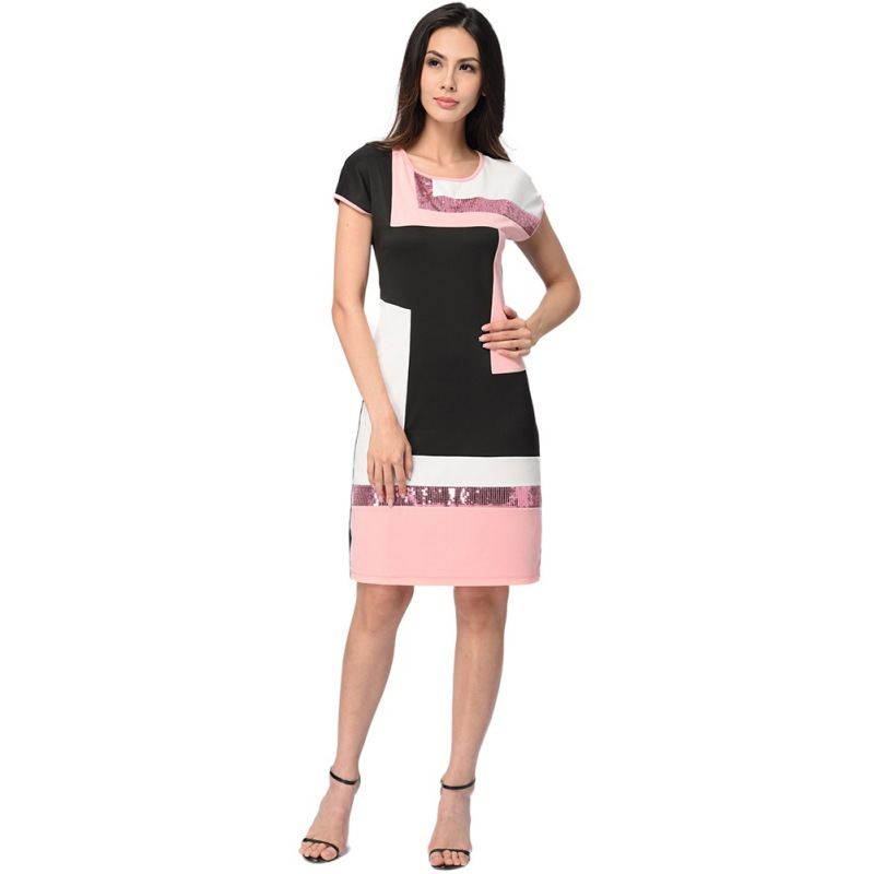 Summer Sexy Dress Women Red Green Pink Patchwork Bodycon Dress O-Neck Short Sleeve Sequin Party Dress