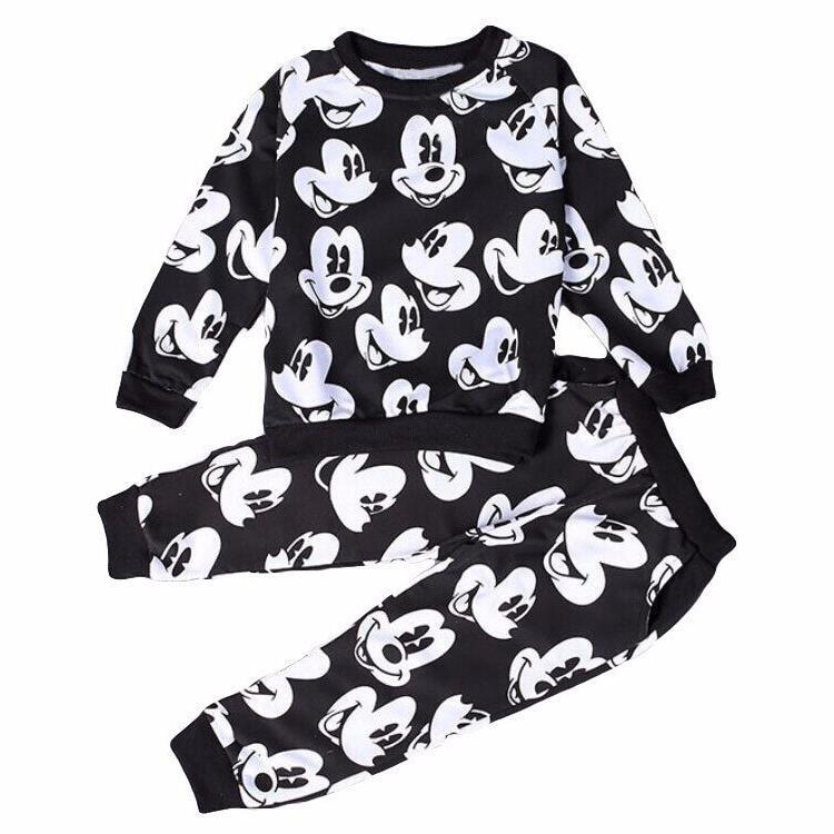 2018 New Mickey Clothing Sets Spring Plush Cotton Boy Clothing Set Mickey Set For Boys Heav Shirt Pants 2 Pieces Kids Clothing