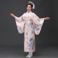 Japanese National Style Women Yukata Traditional Kimono With Obi Performance Dance Dress Cosplay Dress Flower One Size B 005