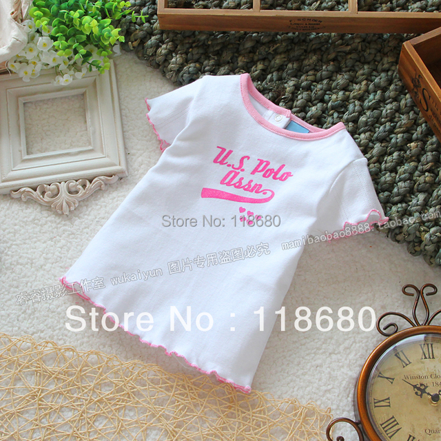Лето одежда для младенцев дети t - рубашки девочка короткий рукав футболки верхний дети милый хлопок тройник рубашка