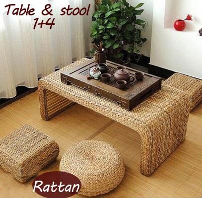 € 609.53 25% de réduction|100% produits en rotin naturel, jardin de pur à  la main en rotin ensembles de meubles, table en rotin, rotin tabouret, ...