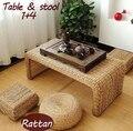 100% produtos de vime natural, jardim de handmade puro conjuntos de mobiliário de vime, tabela do rattan, rattan fezes, mobília da sala de estar (1 + 4)