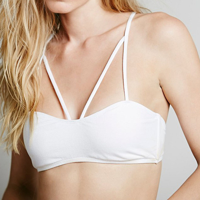 7cc22b0ac3 White Sexy Cotton Womens Tops Sports Bra Fitness Clothing Ladies Training  Underwear Tights Bandage Stretchy Crop Top Activewear