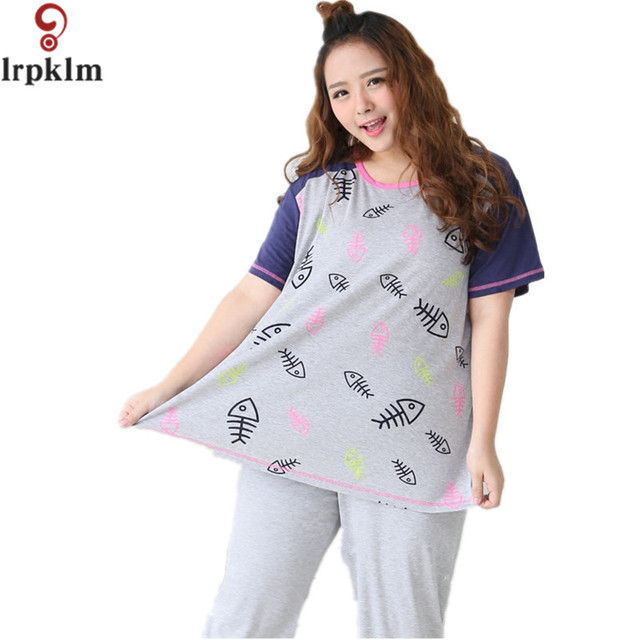 2017 New Summer Women s Cotton Pajamas Sets Young Ladies Sleepwear Female  Fish Print Pajama Sets Size 3a25075d0