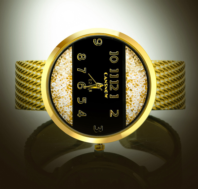 9033b49cb Big Face Gold Silver Bangle Watch Women Elegant Brand Analog Crystal Dial  Ladies Watches Reloje Mujer Montre Bracelet Femme Gift