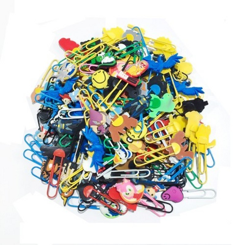 50pcs Mixed By Random Hot Cartoon PVC Charm Bookmarks Paper Clips Stationery Set School Office DIY Supply Kid Gift