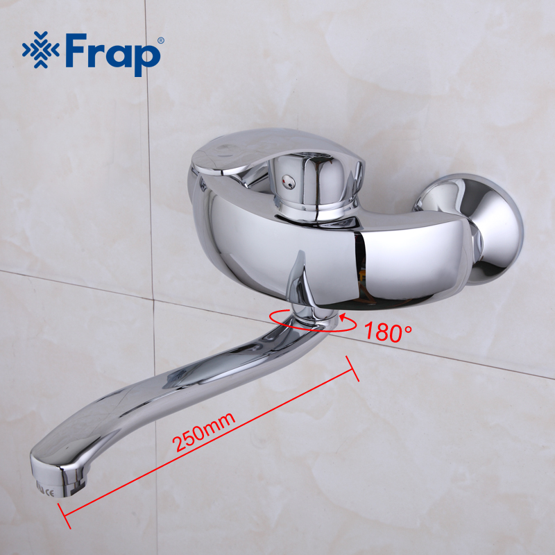 Frap mélangeur de cuisine eau chaude et froide robinet mural cuisine lave-linge robinet 250mm sortie tuyau longueur robinet d'eau F4621