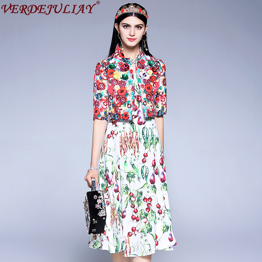 Prairie Chic Sets Women 2018 Spring Half Sleeve Jacquard Beading Sequined Jacket + Lentils Print Spaghetti Strap Tank Dress Sets