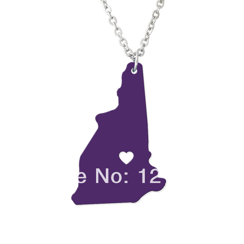 Personalized State Necklace - I heart New hampshire Necklace - Custom Map Pendant - Acrylic State Charm - Map necklace