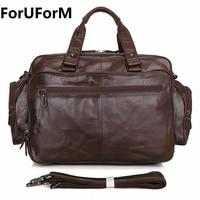 ForUForM 100 Genuine Leather Men Bag Designed Men Laptop Briefcase Business Bag Cow Leather Men Handbag