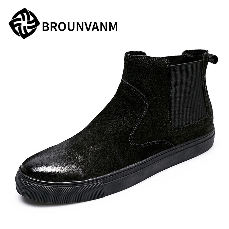 Male high shoes black leather shoes scrub Gobon pedal set foot lazy Boots Men s casual boots