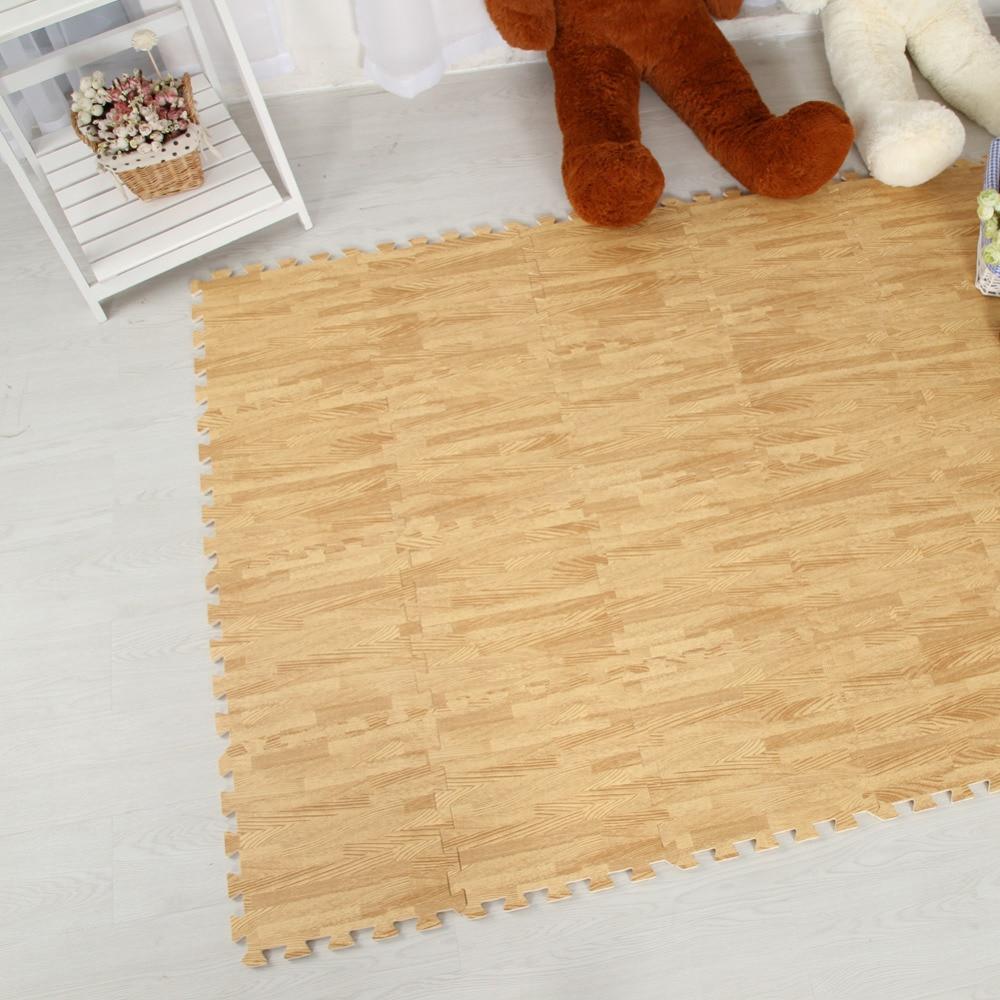Meitoku Zachte EVA Foam puzzel kruipen mat; 10 stks hout interlock - Speelgoed voor kinderen - Foto 5