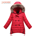 Kids Winter Coat Girls 2016 New Brand Children Warm Down Jacket For Girls Long Fur Hoodies Double-Breasted Children Outerwear