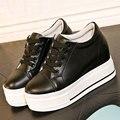 Женщины натуральная кожа повседневная обувь высота увеличение туфли на платформе квартиры узелок тренеры zapatillas deportivas mujer XK120802