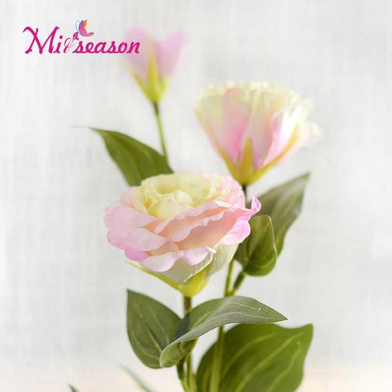 1PC Europäischen Künstliche Blume 3 Köpfe Gefälschte Eustoma Gradiflorus Lisianthus Weihnachten Hochzeit Party Dekorative 5 Farben