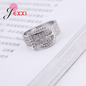 Latest 925 Sterling Silver Rings AAA Cubic Zircon CZ Stone Belt Buckle Design Lovely Women's Big Party Accessories 3