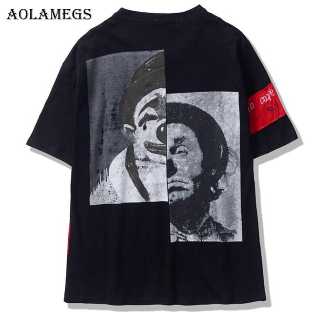 Aolamegs T Shirt Men Clown Patchwork Men's Tee Shirts Short Sleeve O-neck T Shirt Fashion High Street Couple Tees Streetwear