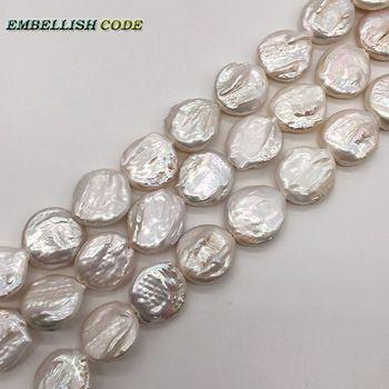DIY perlas en venta blanco 18,5mm plano forma de lágrima redonda hebra (alrededor de 22 unids/lote) perlas de agua dulce reales naturales