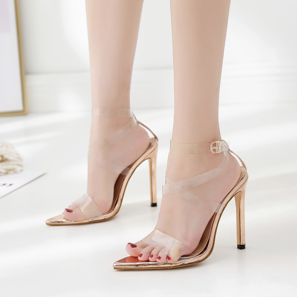 92131bf6b29 US $59.99 |New arrived pointed toe rose gold pvc cross straps perspex heel  sandals shoes for party sky high heel women summer shoes-in High Heels from  ...