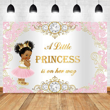 NeoBack Royal Princess Baby Shower Backdrop Pink Gold Princess Background  Vinyl Princess Baby Shower Backdrops цены