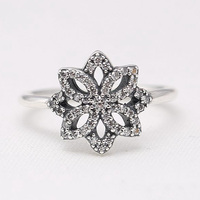 Authentic 925 Sterling Silver Ring Openwork White Lotus With Crystal For Women Wedding Party Gift Fit